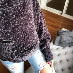 Sweaters - Distressed PLUSH Chenille